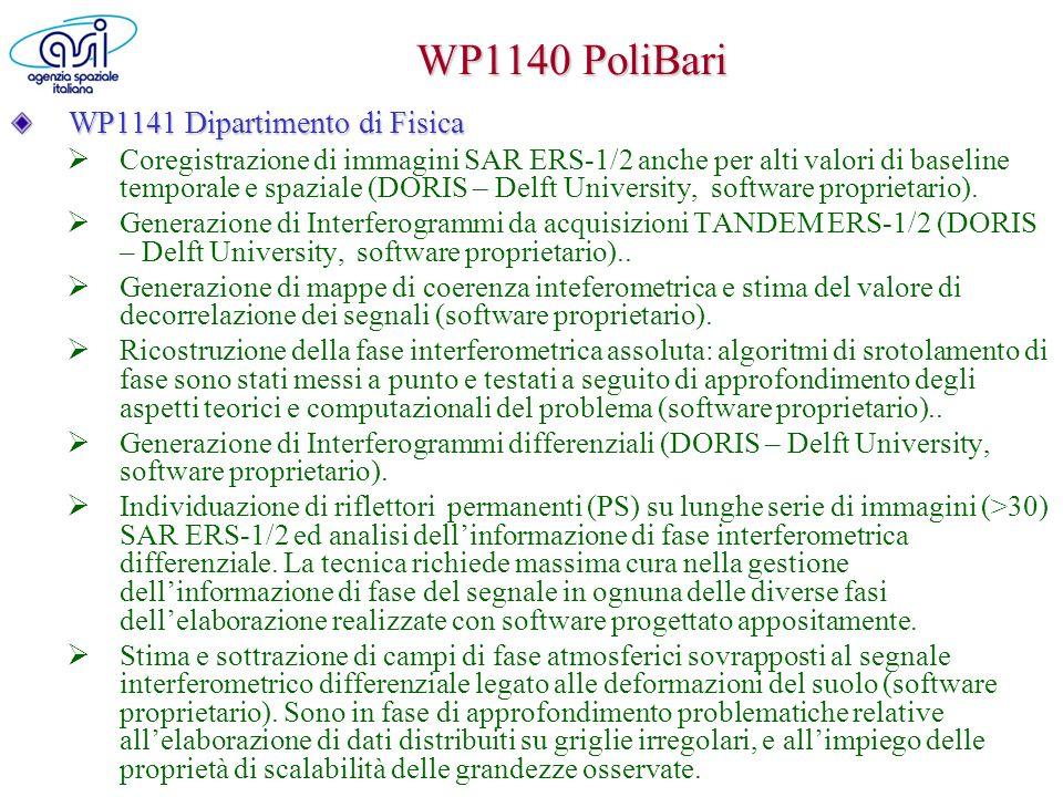 WP1140 PoliBari WP1141 Dipartimento di Fisica