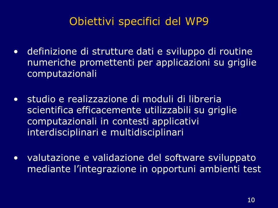 Obiettivi specifici del WP9