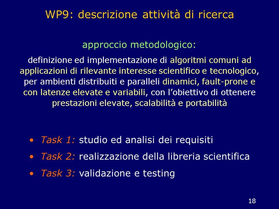 WP9: descrizione attività di ricerca