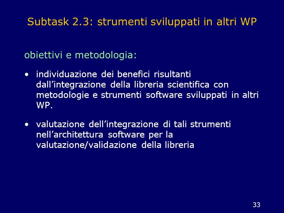 Subtask 2.3: strumenti sviluppati in altri WP