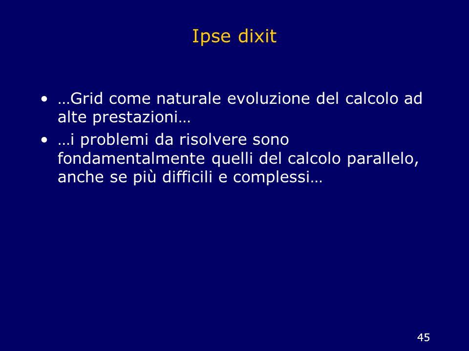 Ipse dixit …Grid come naturale evoluzione del calcolo ad alte prestazioni…