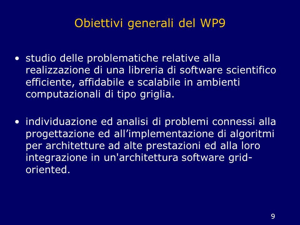 Obiettivi generali del WP9