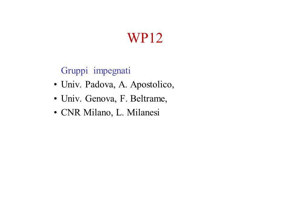 WP12 Gruppi impegnati Univ. Padova, A. Apostolico,