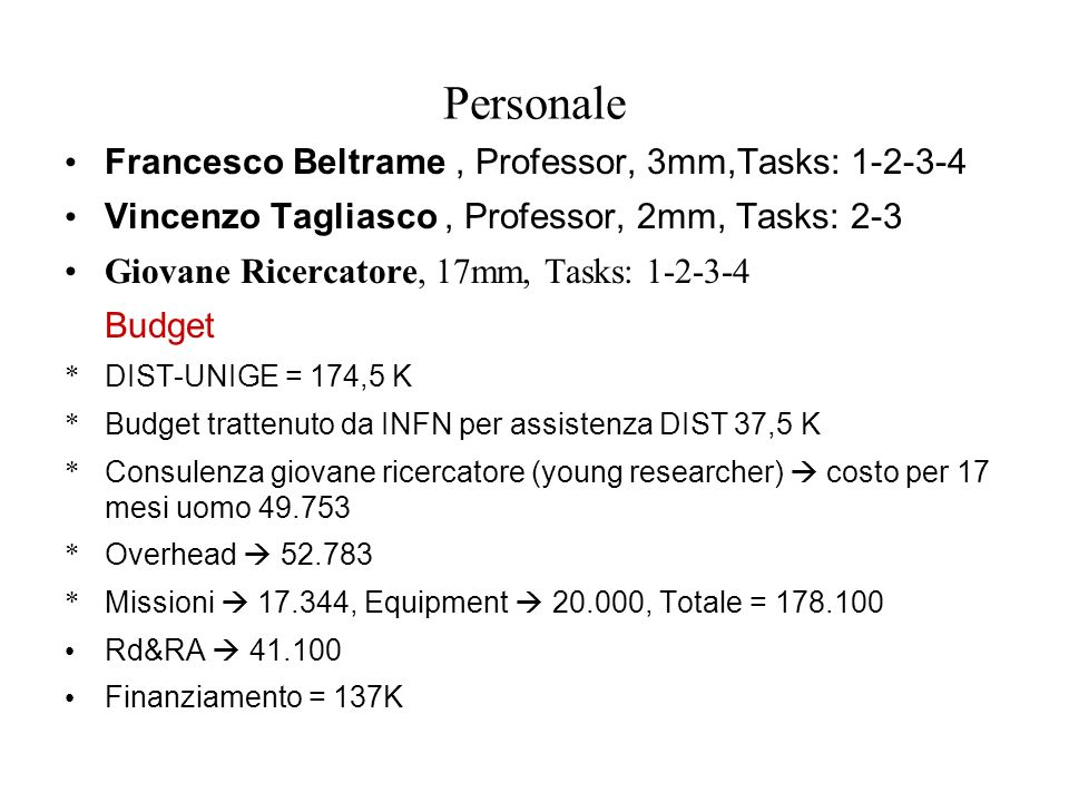 Personale Francesco Beltrame , Professor, 3mm,Tasks: 1-2-3-4