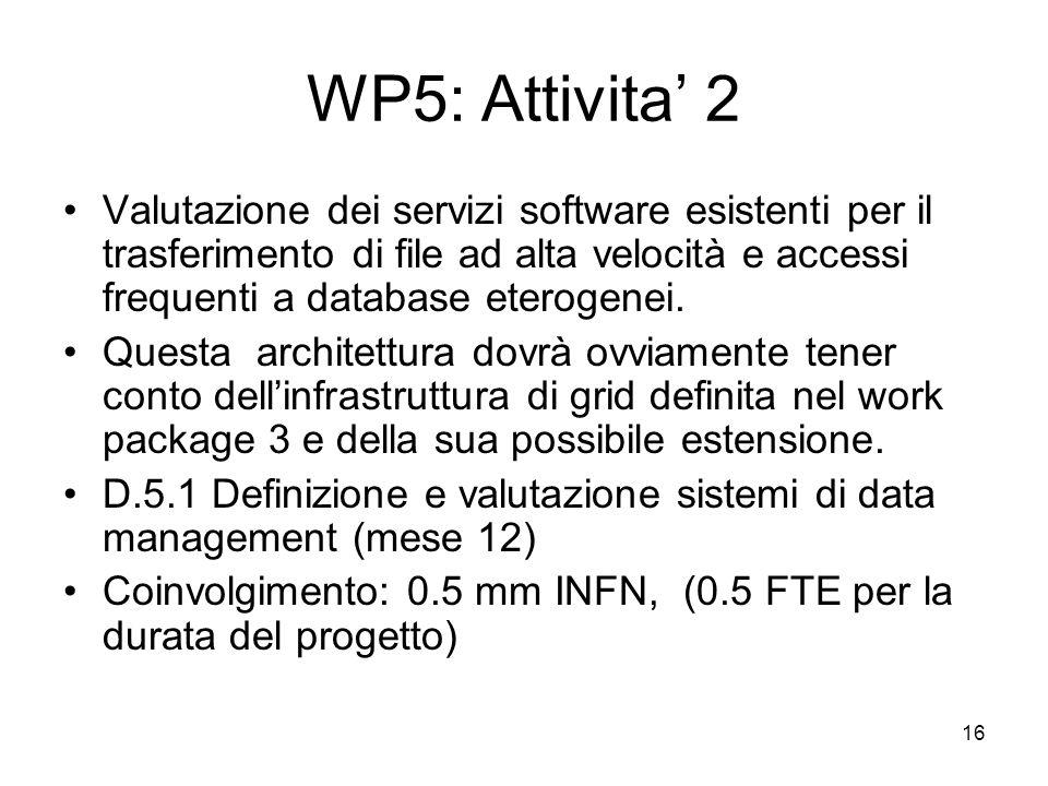 WP5: Attivita' 2 Valutazione dei servizi software esistenti per il trasferimento di file ad alta velocità e accessi frequenti a database eterogenei.