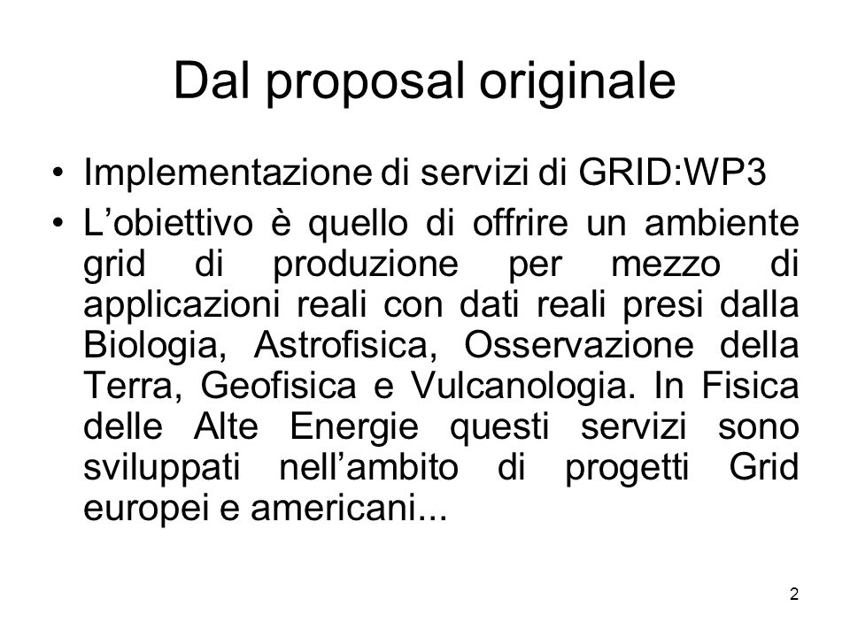 Dal proposal originale