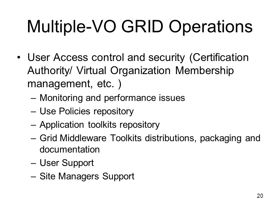 Multiple-VO GRID Operations