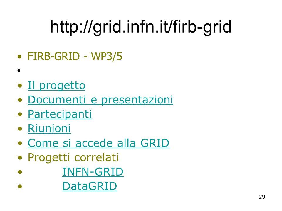http://grid.infn.it/firb-grid FIRB-GRID - WP3/5 Il progetto