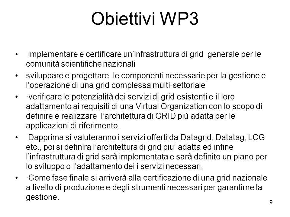 Obiettivi WP3 implementare e certificare un'infrastruttura di grid generale per le comunità scientifiche nazionali.