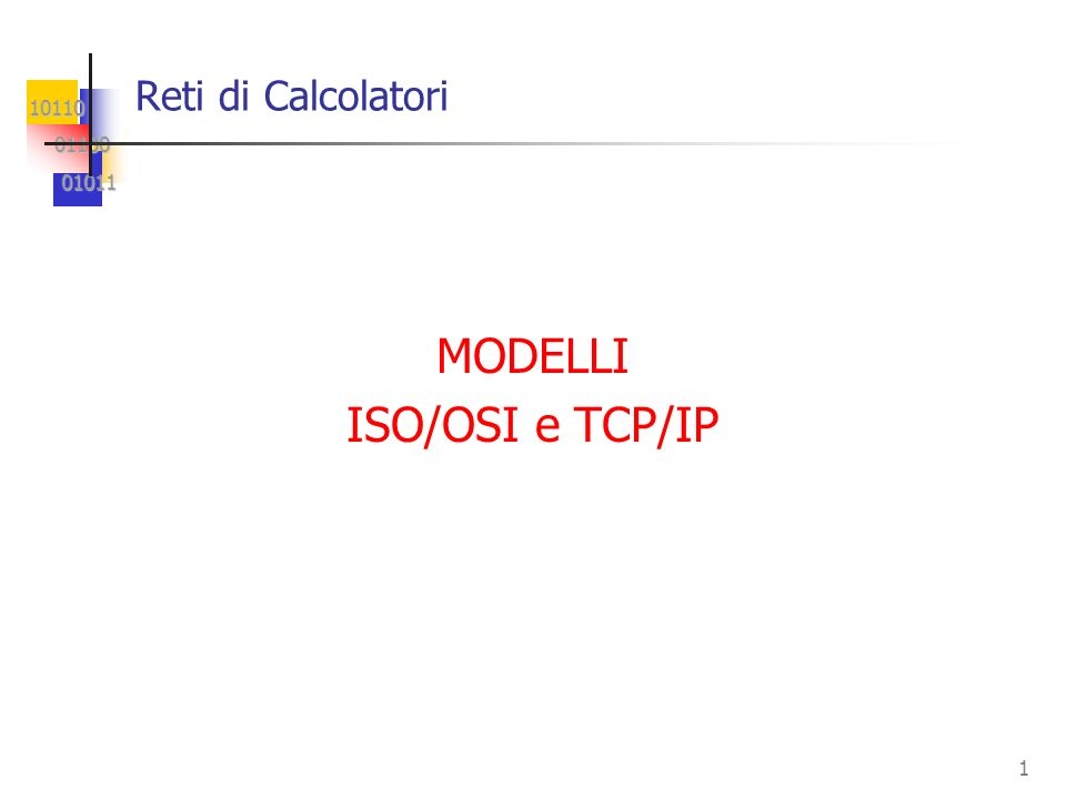 Reti di Calcolatori MODELLI ISO/OSI e TCP/IP