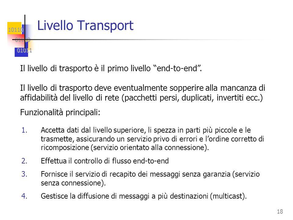 Livello Transport Il livello di trasporto è il primo livello end-to-end .