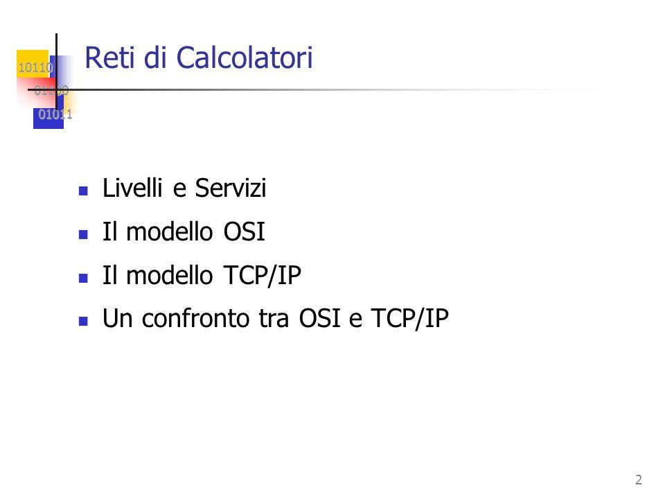 Reti di Calcolatori Livelli e Servizi Il modello OSI Il modello TCP/IP