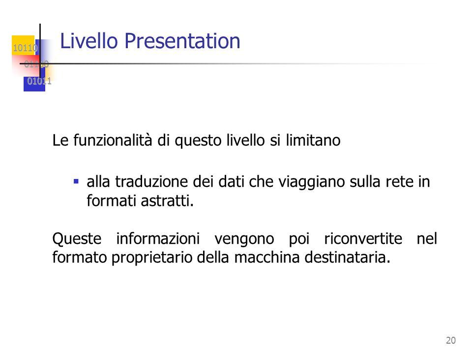 Livello Presentation Le funzionalità di questo livello si limitano