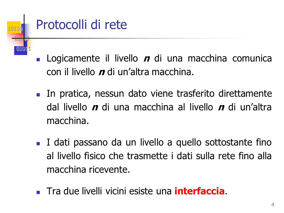 Protocolli di rete Logicamente il livello n di una macchina comunica con il livello n di un'altra macchina.