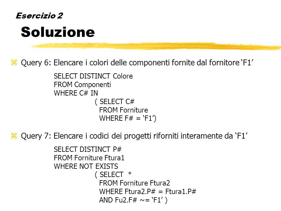 Query 6: Elencare i colori delle componenti fornite dal fornitore 'F1'