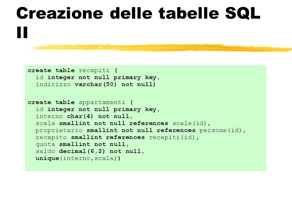 Creazione delle tabelle SQL II
