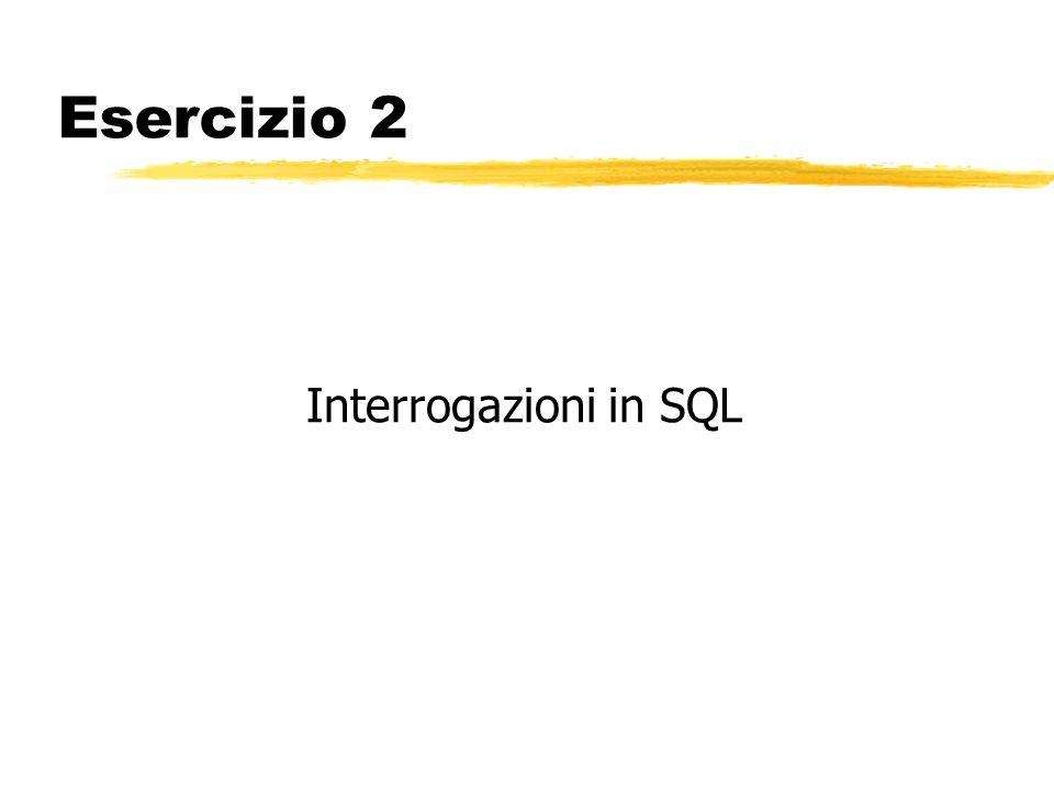 Esercizio 2 Interrogazioni in SQL