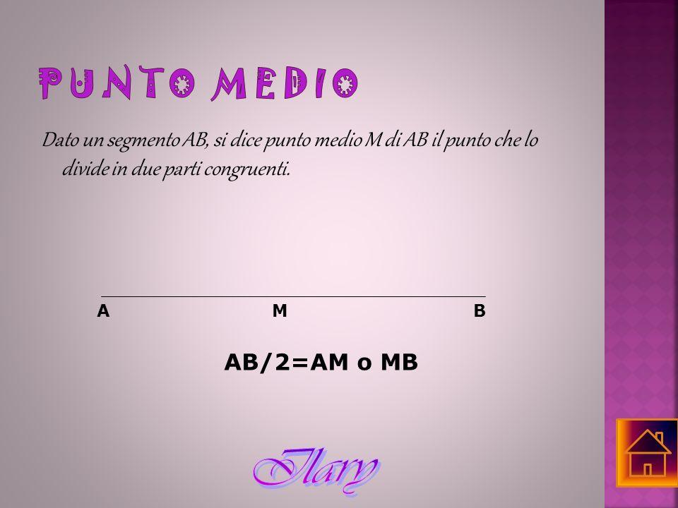 PUNTO MEDIO Dato un segmento AB, si dice punto medio M di AB il punto che lo divide in due parti congruenti.