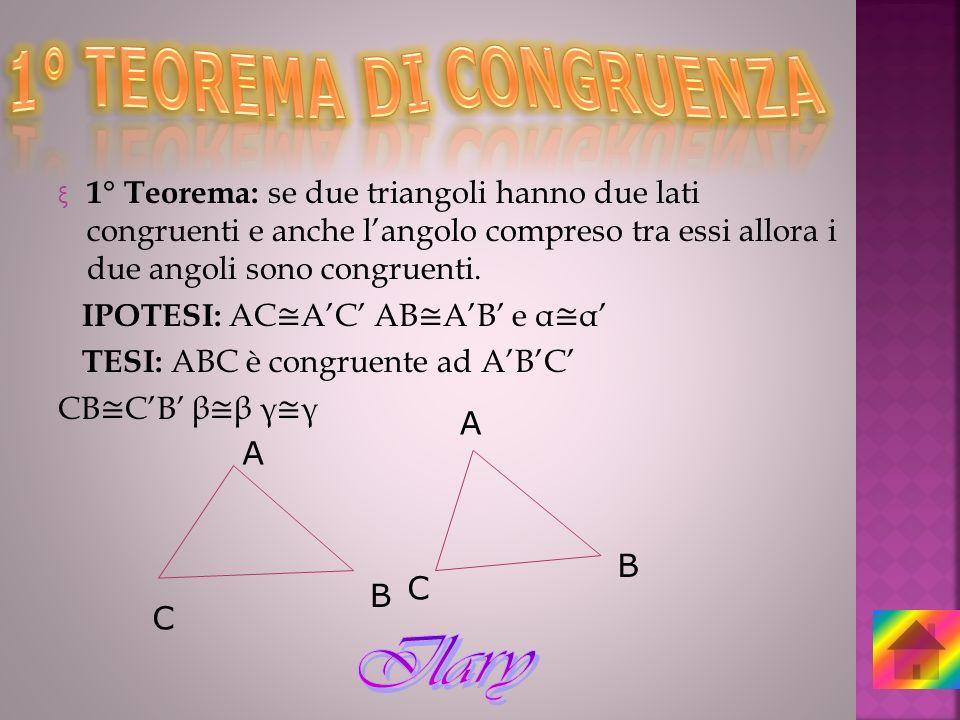 1° TEOREMA DI CONGRUENZA