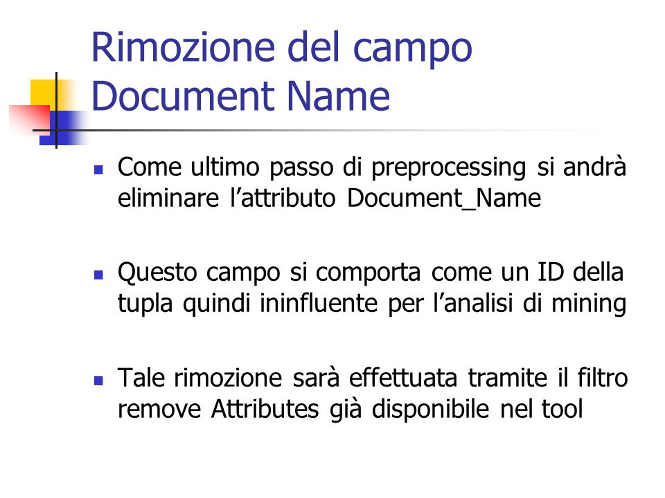 Rimozione del campo Document Name