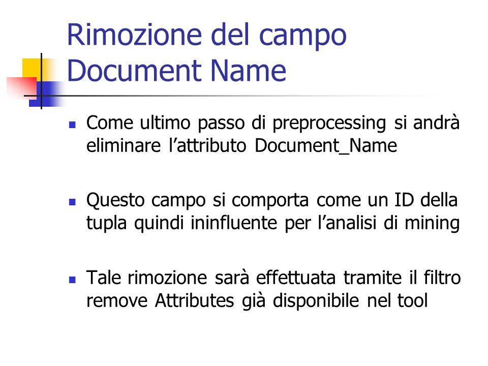 Rimozione del campo Document Name