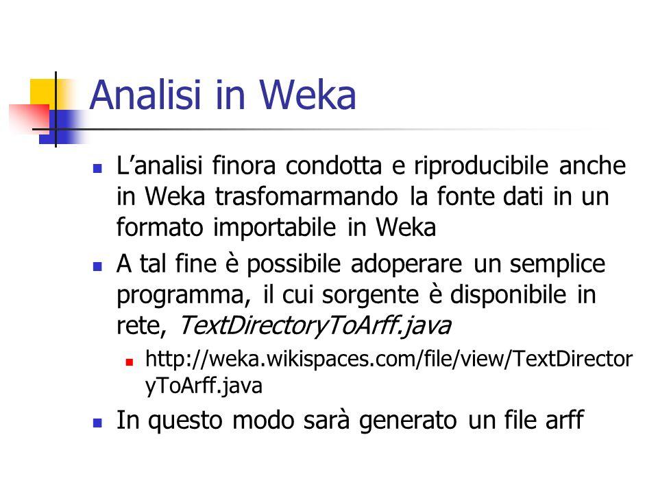 Analisi in Weka L'analisi finora condotta e riproducibile anche in Weka trasfomarmando la fonte dati in un formato importabile in Weka.
