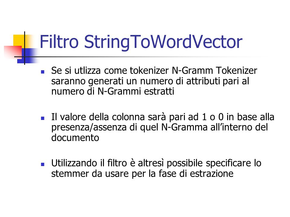 Filtro StringToWordVector