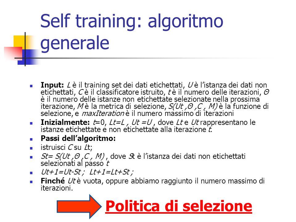 Self training: algoritmo generale