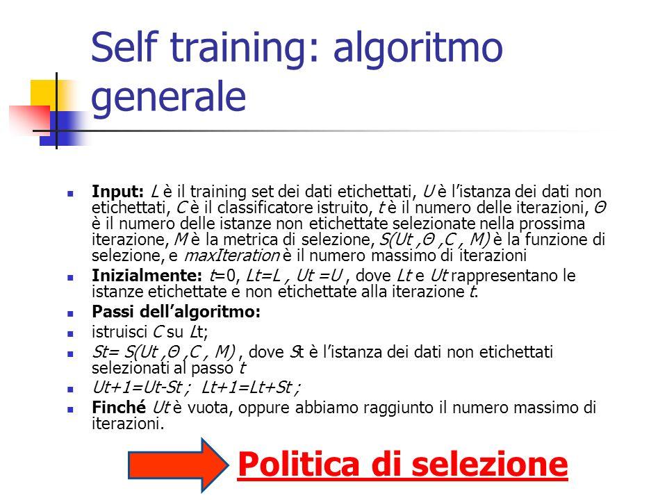 Self training: algoritmo generale