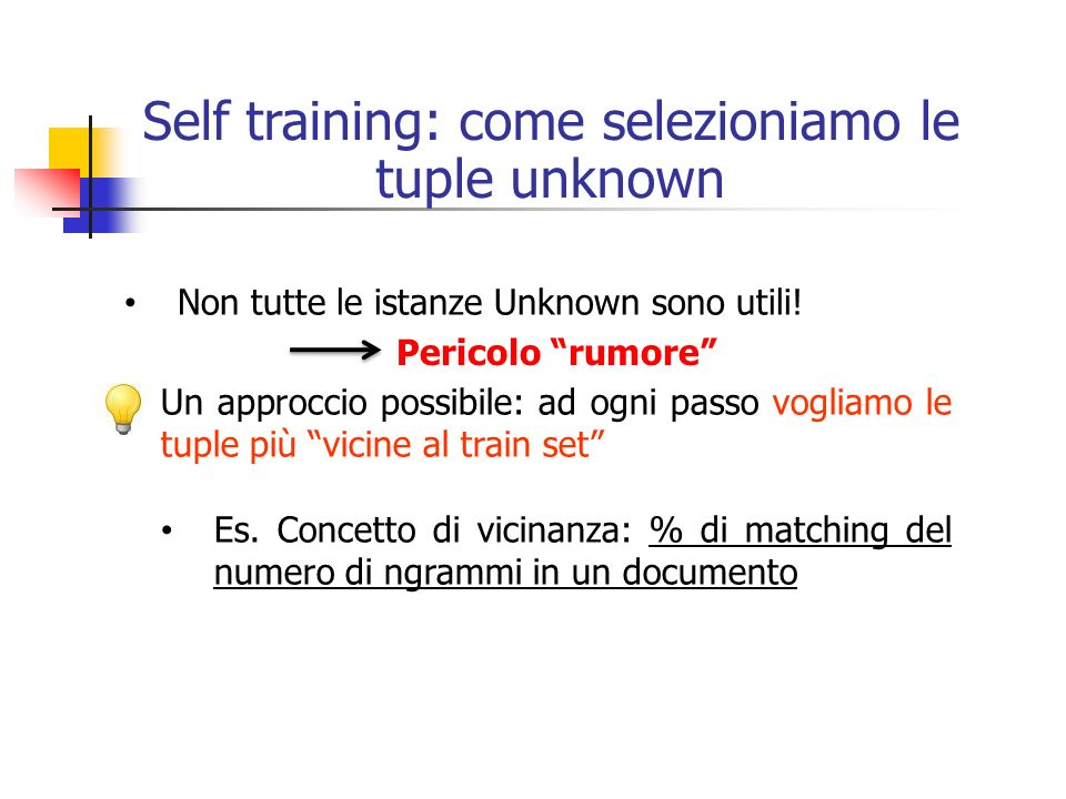 Self training: come selezioniamo le tuple unknown