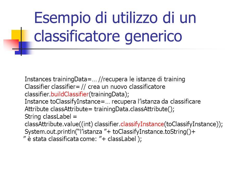 Esempio di utilizzo di un classificatore generico