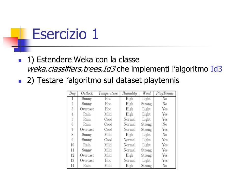 Esercizio 1 1) Estendere Weka con la classe weka.classifiers.trees.Id3 che implementi l'algoritmo Id3.