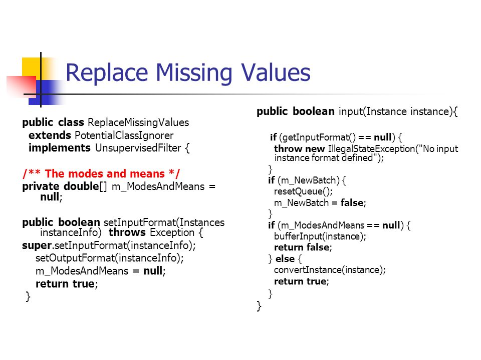 Replace Missing Values