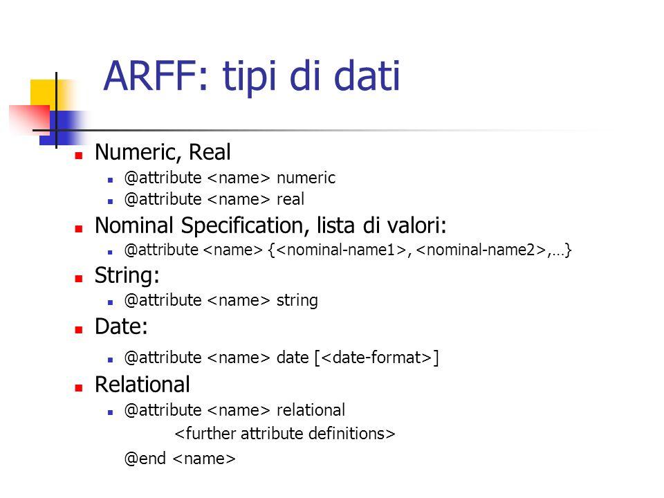 ARFF: tipi di dati Numeric, Real