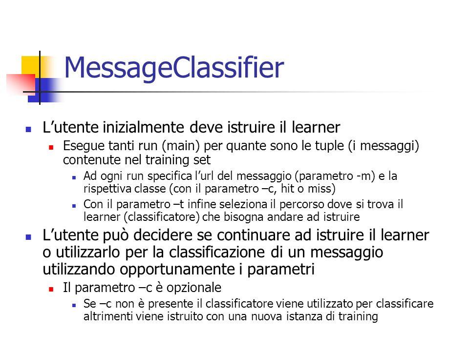 MessageClassifier L'utente inizialmente deve istruire il learner