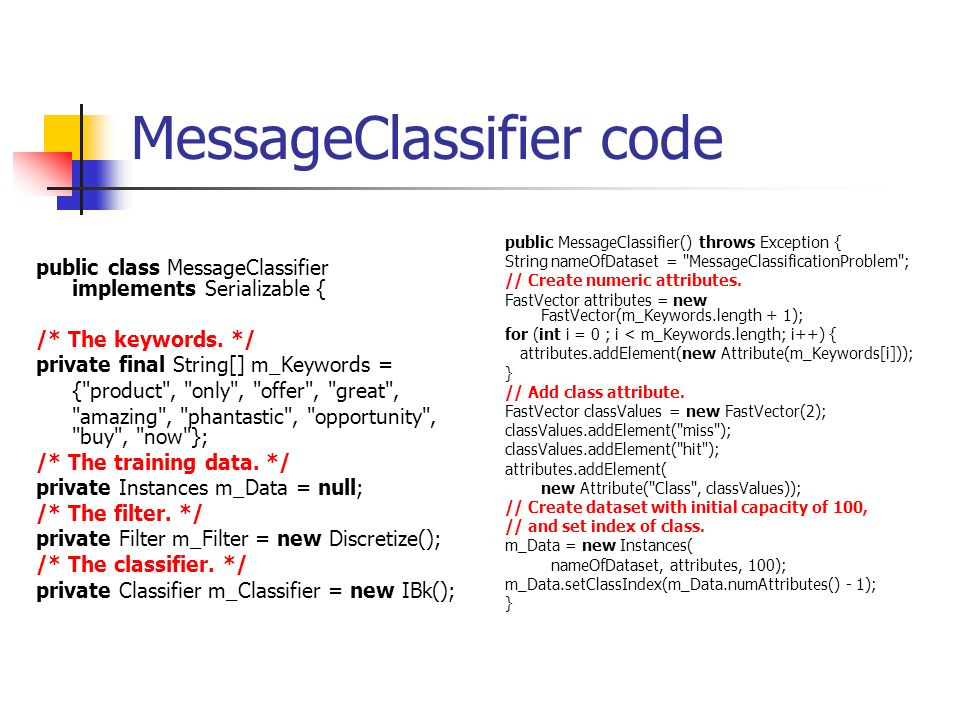 MessageClassifier code