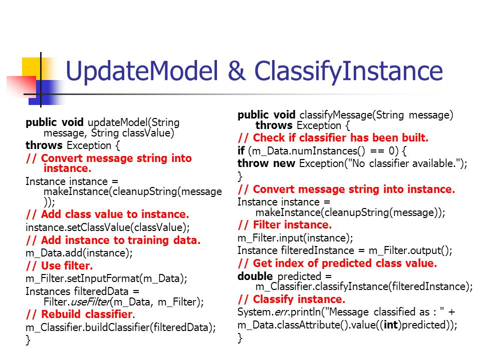 UpdateModel & ClassifyInstance