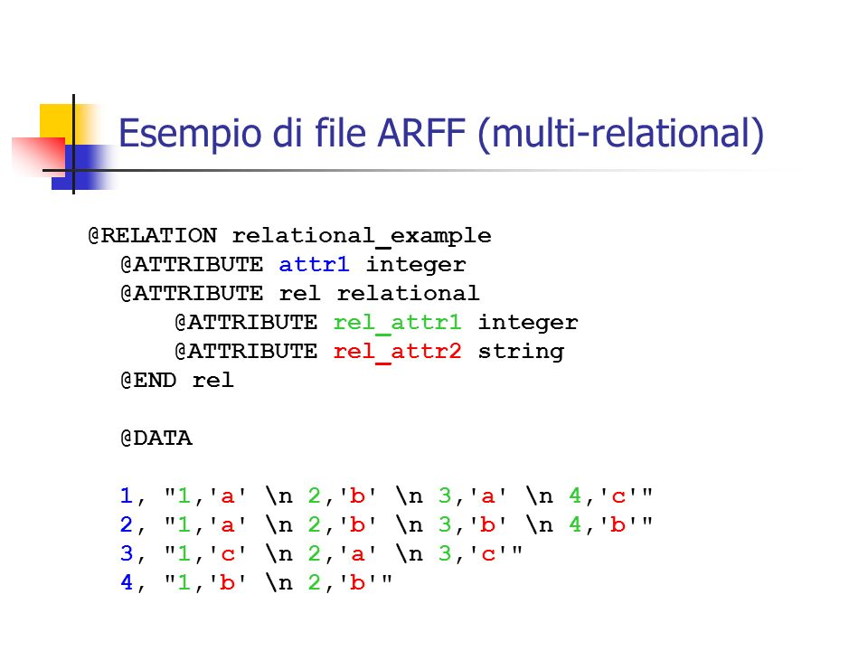 Esempio di file ARFF (multi-relational)