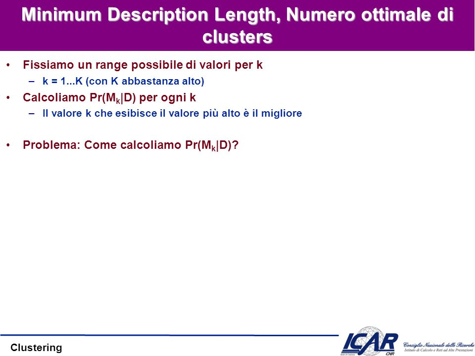 Minimum Description Length, Numero ottimale di clusters