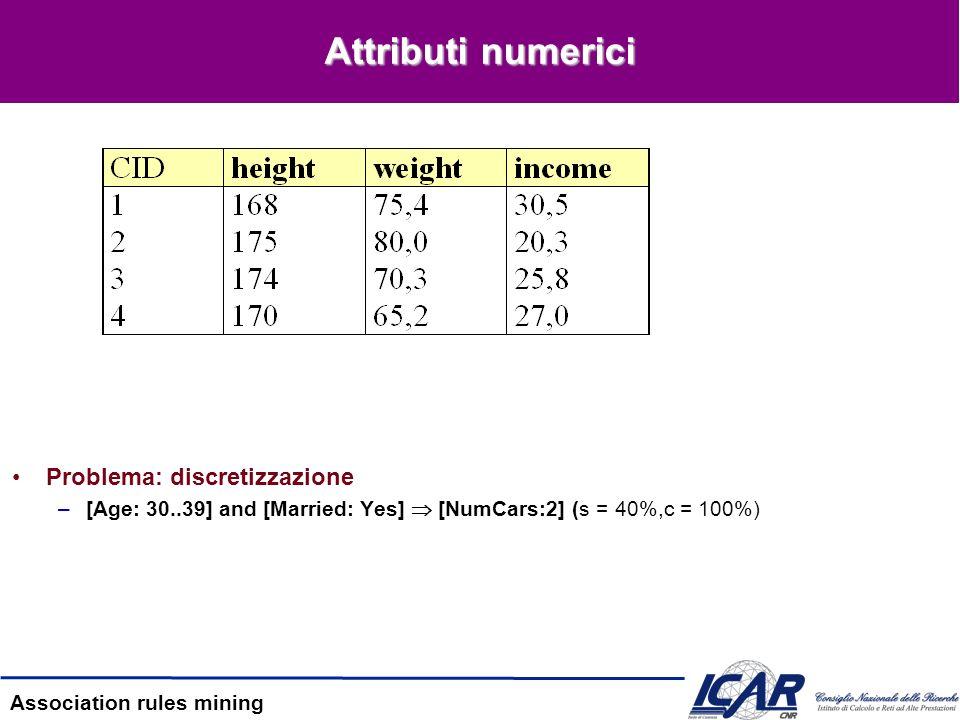 Attributi numerici Problema: discretizzazione