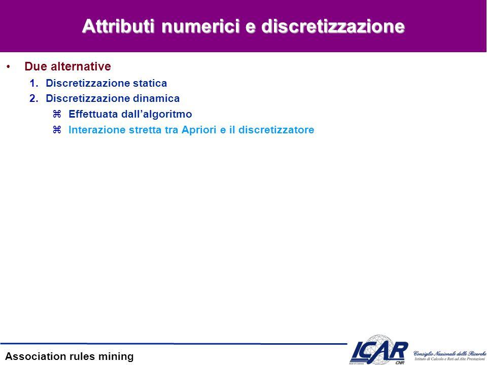 Attributi numerici e discretizzazione