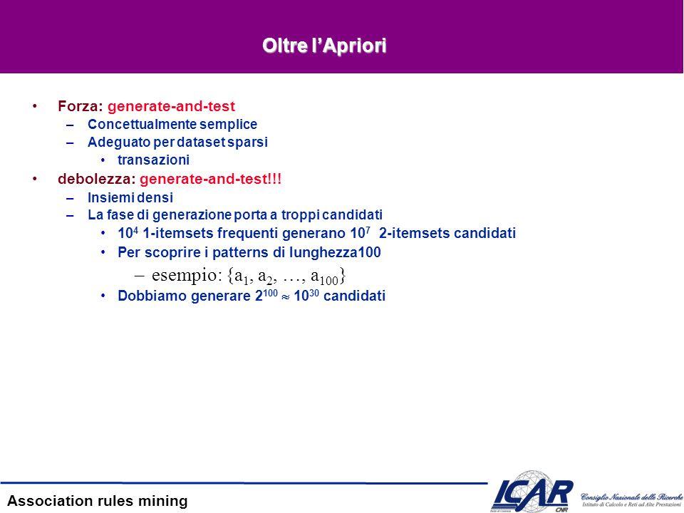Oltre l'Apriori esempio: {a1, a2, …, a100} Forza: generate-and-test