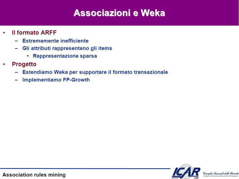 Associazioni e Weka Il formato ARFF Progetto Estremamente inefficiente