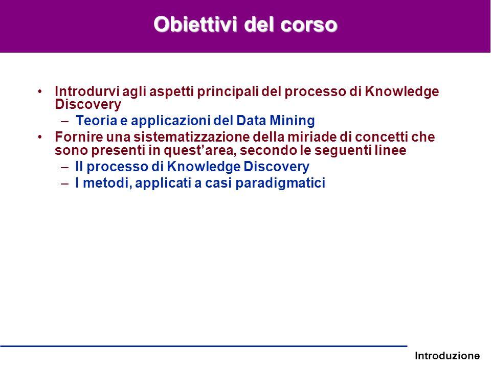 Obiettivi del corso Introdurvi agli aspetti principali del processo di Knowledge Discovery. Teoria e applicazioni del Data Mining.