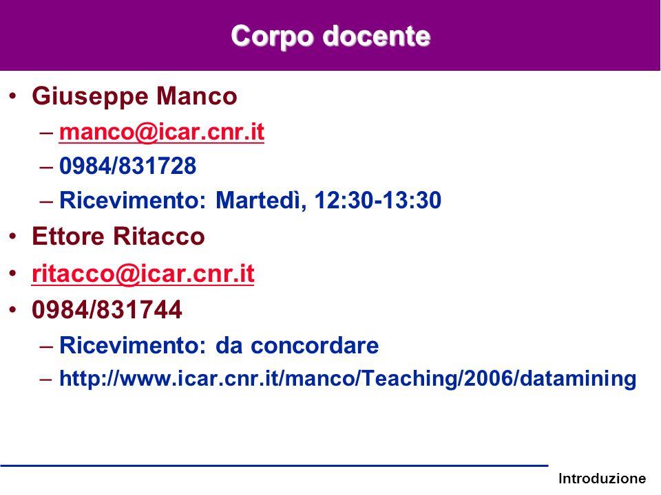 Corpo docente Giuseppe Manco Ettore Ritacco ritacco@icar.cnr.it