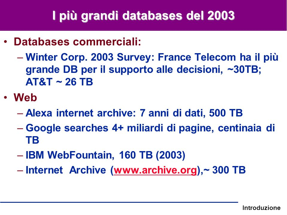 I più grandi databases del 2003