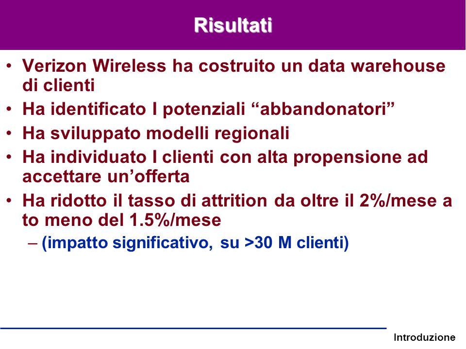 Risultati Verizon Wireless ha costruito un data warehouse di clienti