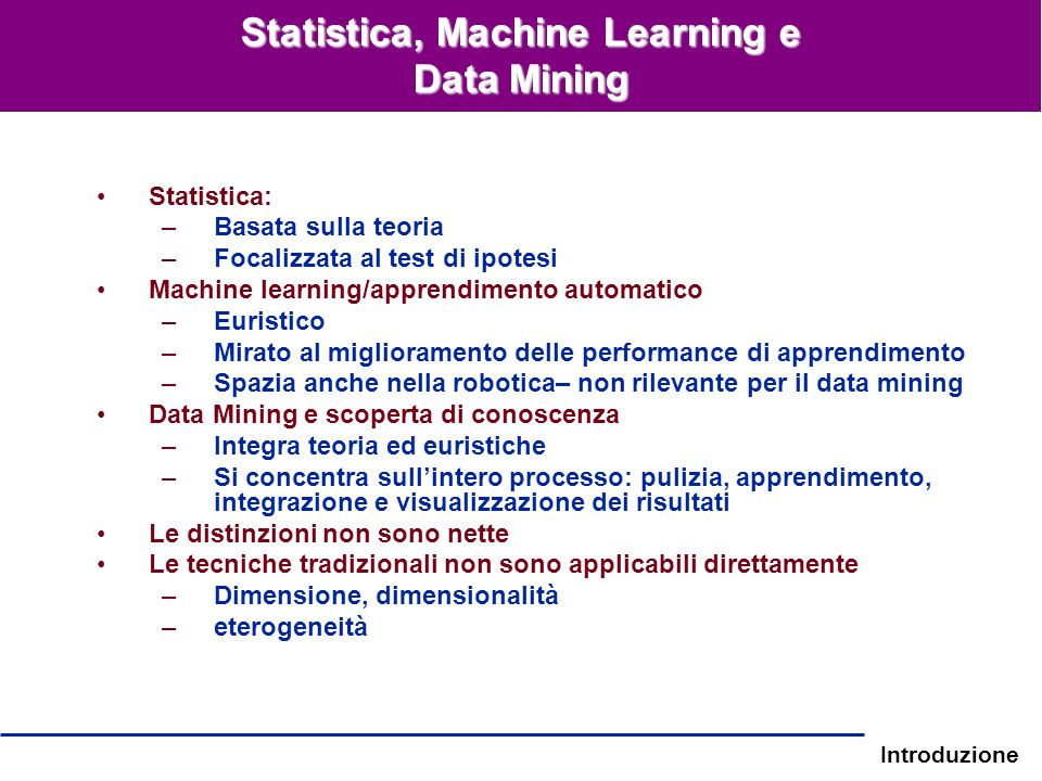 Statistica, Machine Learning e Data Mining