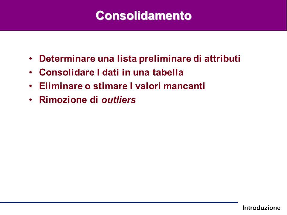 Consolidamento Determinare una lista preliminare di attributi