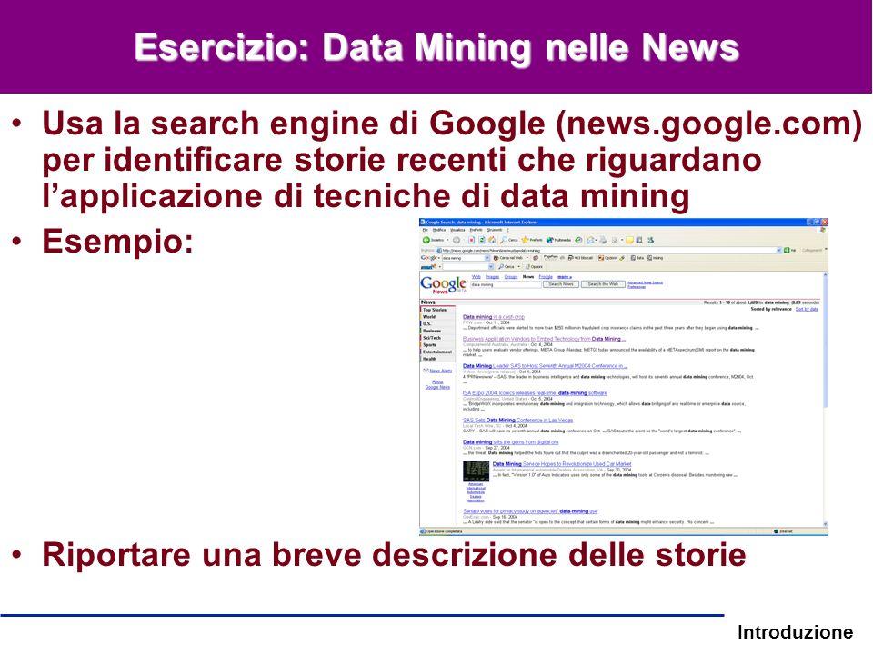 Esercizio: Data Mining nelle News
